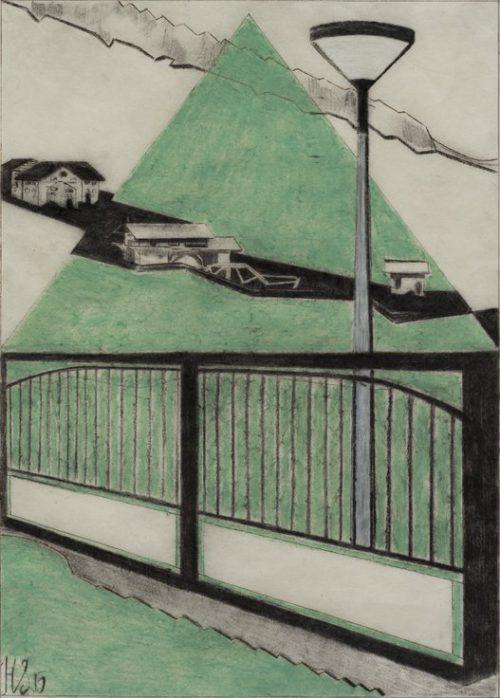 Schweizer Laterne, 42 x 30 cm houtskool, vetkrijt en paraffine op Japans papier 2015